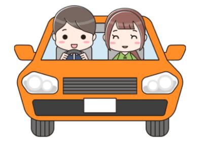 自動車でドライブ