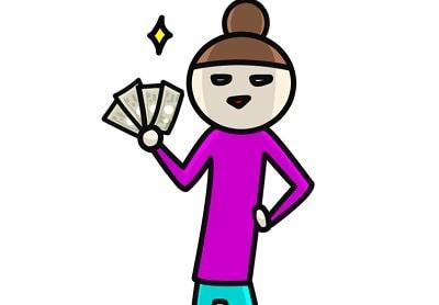 お金を持つイラスト